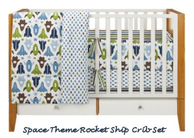 Navy blue and green baby boy space rocket ship nursery crib bedding set