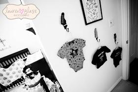 Rock Star Baby Onesies Used As Nursery Room Wall Decorations