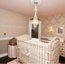 Pink rococo baby girl room with grey brown wall paint color