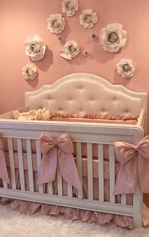 Vintage cream white and pink antique dusty rose shabby chic baby nursery decor crib bedding set nursery decorating ideas