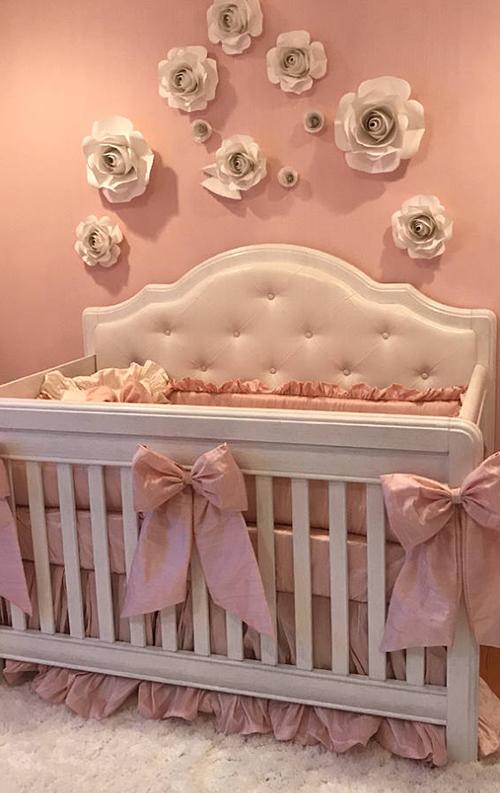 Vintage cream white and pink antique dusty rose shabby chic baby nursery decor crib bedding set nursery decorating ideas