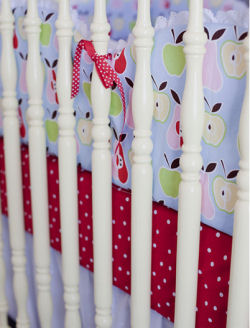 red polka dot crib sheet baby nursery bedding apple green pink yellow pears
