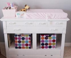 vintage white antique baby diaper changer pink polka dots storage bins