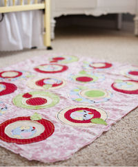 red polka dot area rug baby nursery bedding apple green pink yellow pears