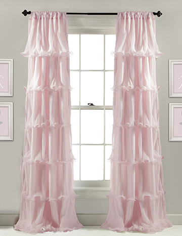 Sheer floor length pink ruffled curtains for a baby girl nursery