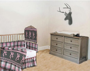 Rustic pink and grey nursery ideas for a baby girl with deer decor