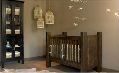 Rustic log cabin style baby nursery with wood crib