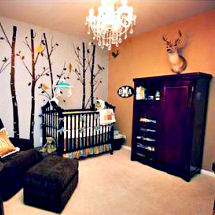 Rustic hunting nursery theme room decorated for a baby boy or girl