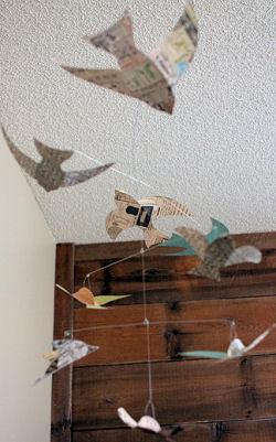 Homemade DIY paper bird baby crib mobile