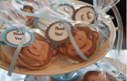 baby boy shower monkey theme decorated blue and brown cookies food snacks finger