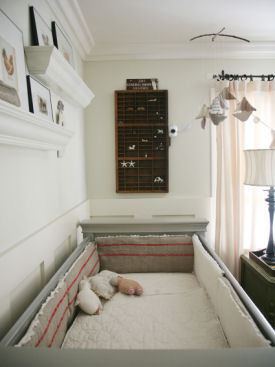 Custom made red, antique white and gray baby crib bedding set in a vintage theme nursery