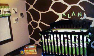 Baby's Safari Theme Nursery with brown and tan, giraffe print wall painting technique.