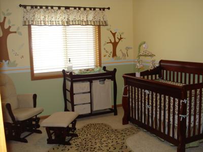 Safari Theme Baby Nursery with Homemade Crib Quilt
