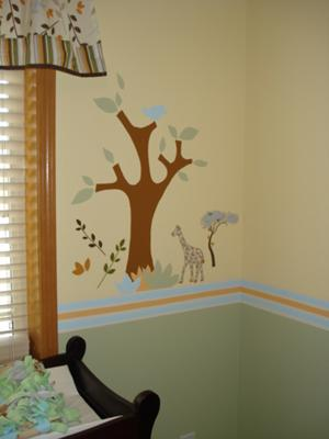 jungle safari baby nursery wall pictures tree giraffe