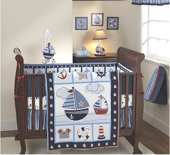 sailboat baby nursery theme crib bedding set