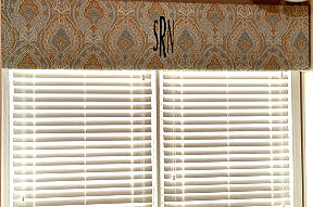Homemade baby boy nursery window valance in paisley fabric monogrammed with initials