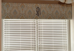 Monogrammed paisley nursery window valancethat matches the crib set