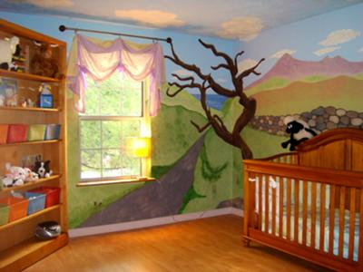 Scottish Nursery Theme with a Blue Sky Ceiling Painting
