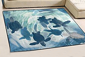 Sea turtle baby nursery room area rug