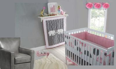 Inspiration board for a gray, white and pink nursery for a baby girl in an elephant and polka dots theme.