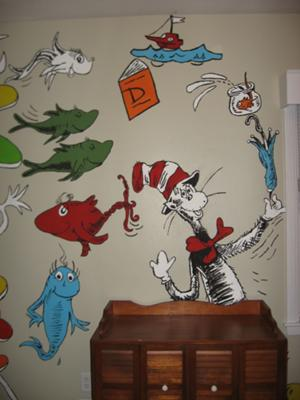 Cat In The Hat nursery wall mural painting hand painted baby Dr. Seuss