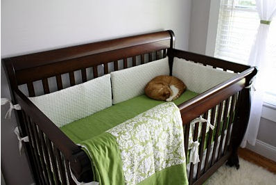 Picture of the Baby's Bed w the Lime Green and White Damask Baby Crib Bedding