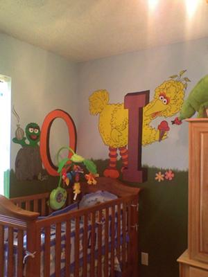 OSCAR AND BIG BIRD MURAL - SESAME STREET NURSERY THEME