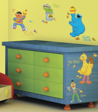 Sesame Street wall mural created using Big Bird Ernie Burt Cookie Monster wall stickers and decals
