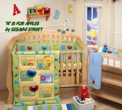 sesame street baby nursery crib bedding abc alphabet mobile babies