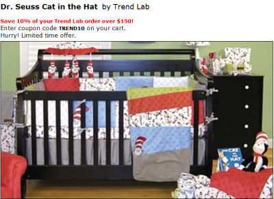 Dr dr. Seuss cat in the hat baby nursery crib bedding set pictures decor decorations