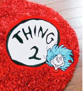 Red shag area rug for a Dr Seuss Thing One Thing Two or Cat in the Hat baby nursery theme
