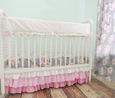 Vintage Inspired Rose Pattern Shabby Chic Baby Bedding Set in Grey Blue Pink Green Gold and Antique Cream with a Ruffled Crib Skirt - Shabby Chic Nursery Decor Ideas