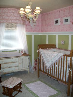 Baby Girl's Pink, Green and White Color Shabby Chic Ballerina Nursery w Damask Wall Paint  Stencil Painting Technique