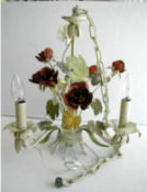 shabby chic baby girl nursery chandelier tole roses flowers vintage