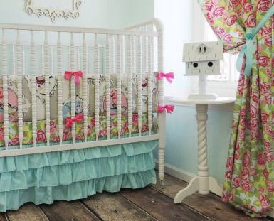 Pink, turquoise and white shabby chic baby nursery theme ideas with birds and bird house