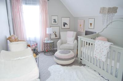 Shabby Chic Zoo Baby Nursery Ideas in Pink and Grey for a Girl