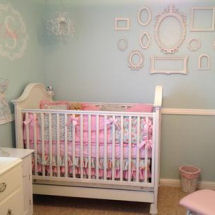 Sweet pink blue and antique white shabby chic baby girl princess nursery room