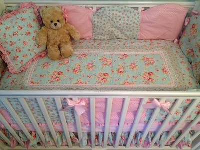 DIY Homemade Shabby Chic Baby Crib Bedding with Pink Roses