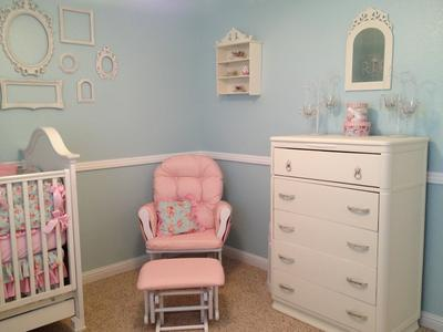 Pink Nursery Glider, baby dresser and Teacup wall shelf