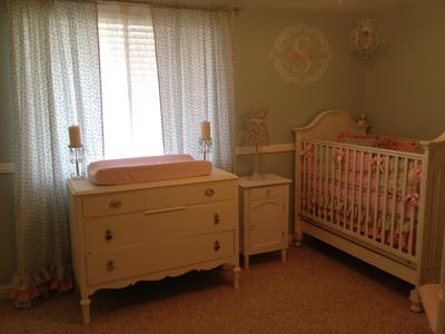 Dresser Changing Table Ruffled Lace Curtains And Wall Decal