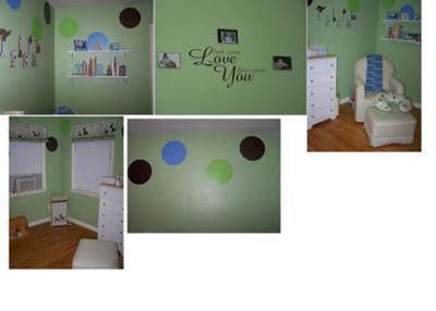 Shared Green Blue and Black Polka Dots Baby Nursery Design Ideas