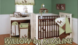 deer wildlife forest hunting baby nursery crib bedding set green and brown