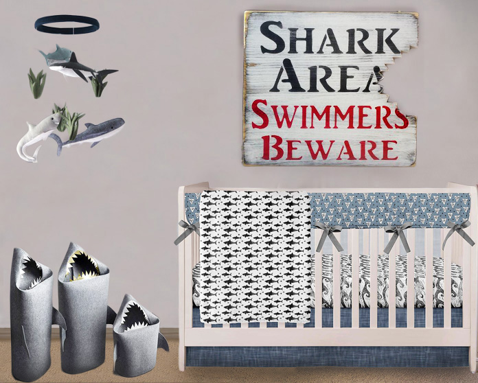 Shark baby nursery room theme decor for a baby boy.  Shark themed decorating ideas.