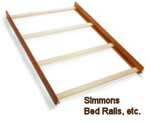 Simmons convertible baby crib toddler full size bed conversion rails brackets parts
