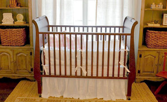 Vintage cherry sleigh crib