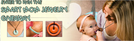 smart mom baby jewelry teething necklace logo giveaway