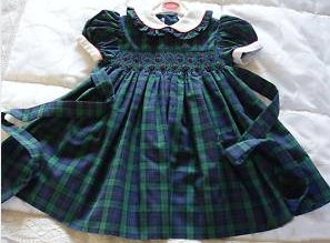 hand smocked blue green holly ivy berries smocking baby girls christmas dress