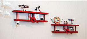 Snoopy Red Baron baby nursery wall shelves decor