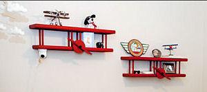 Snoopy Red Baron baby nursery wall shelves decor