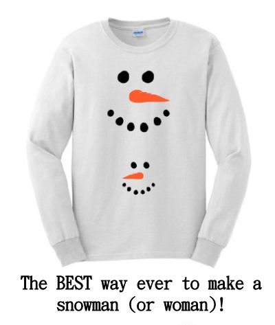 Frosty the Snowman Christmas Maternity Shirt with big snowman on top and baby snowman over the bump